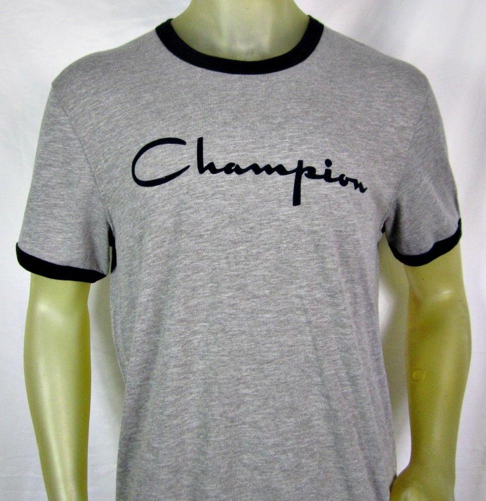 ed83f5e97 Mens Champion Heritage Ringer Gray Tee Shirt Black Flocked Script Logo  Large #Champion #GraphicTee