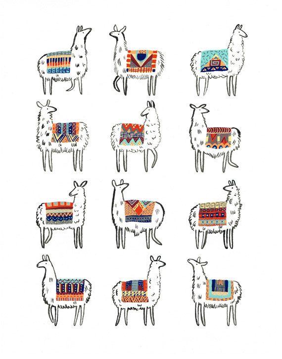 Llama-rama Print | Llamas, Ramas y Ilustraciones