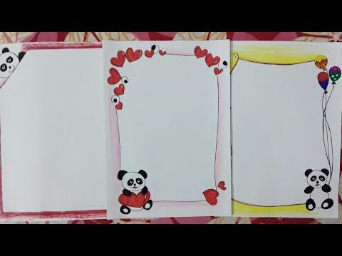 Panda Drawing Border Designs On Paper Border Designs For School Projects And Files Youtube Drawing Borders Panda Drawing Borders For Paper