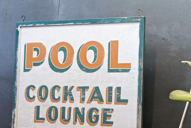 Vintage Indio Swim Club Pool Bar Sign 20th Century