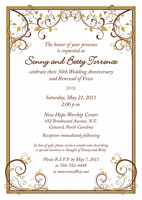 50th Anniversary Party Invitations | 50th wedding anniversary ...