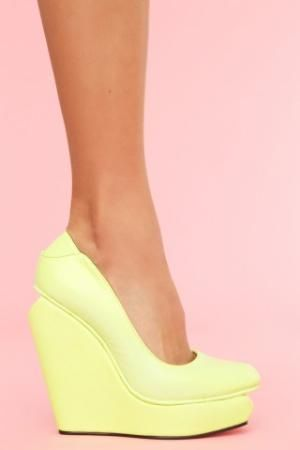 Aldo has neon wedges just like this. Want!