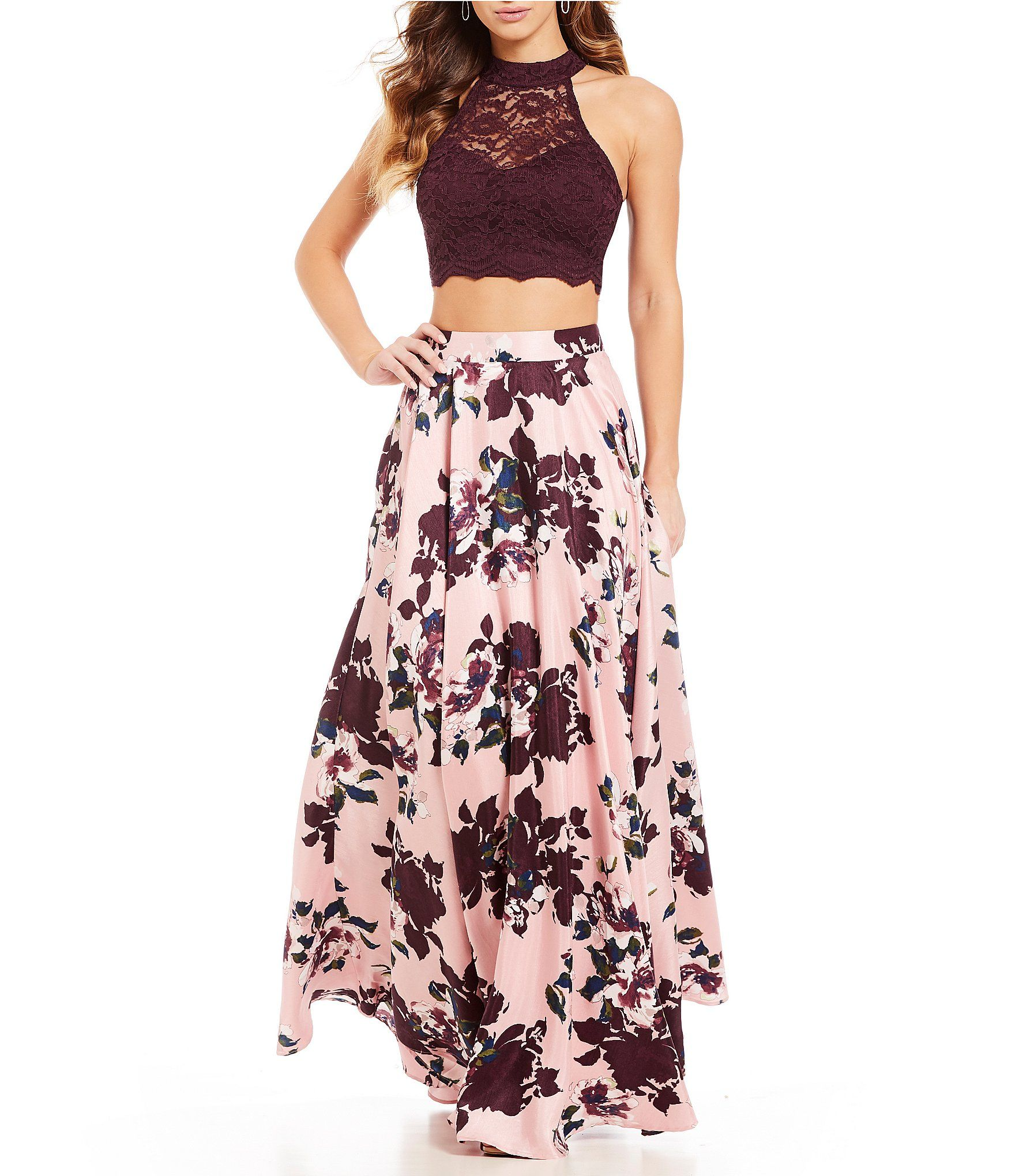 Shop For Jodi Kristopher Mock Neck Lace Top With Floral Skirt Two