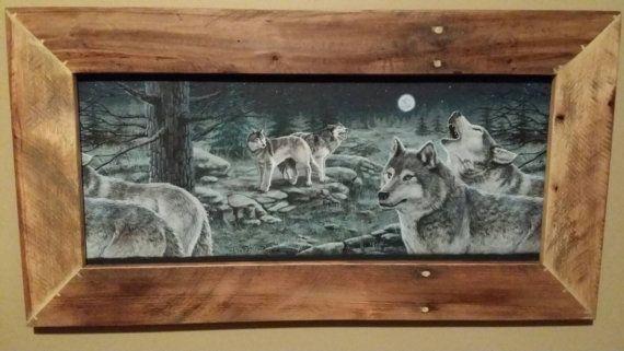 Rustic Wood Frame Wood Framed Wolf Print Country Barn Wood Frame