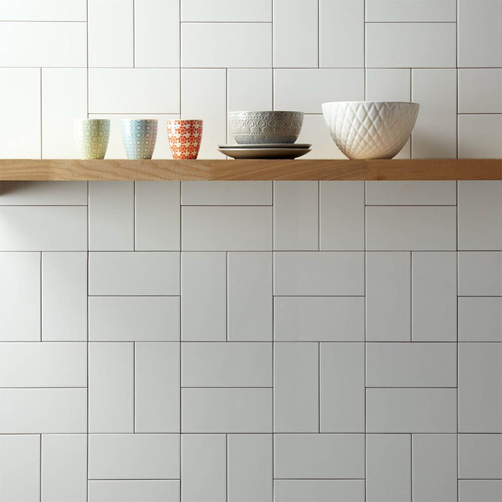 Metro Flat Wall Tiles Gloss White 20 X 10cm Pinterest