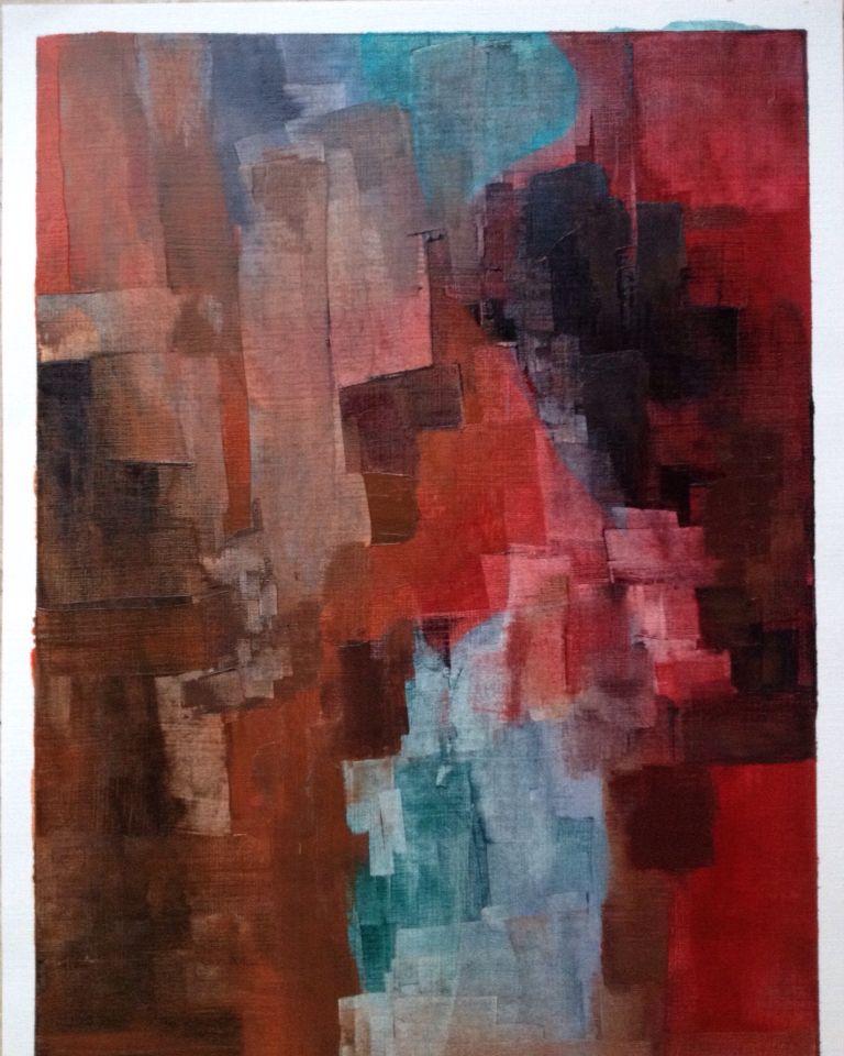Huile sur papier - Abstraction couleurs d'automne