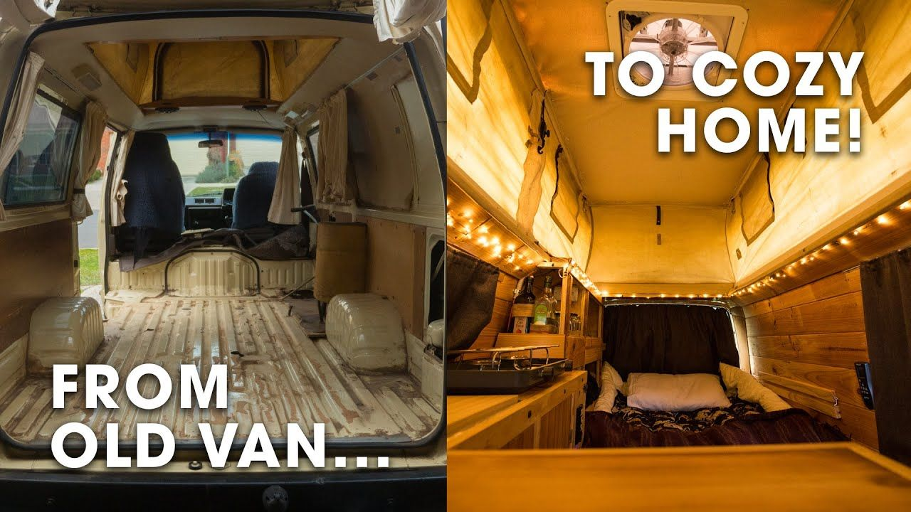 i converted an old toyota van into a cozy home camper conversion tour youtube campervan conversions van van life pinterest