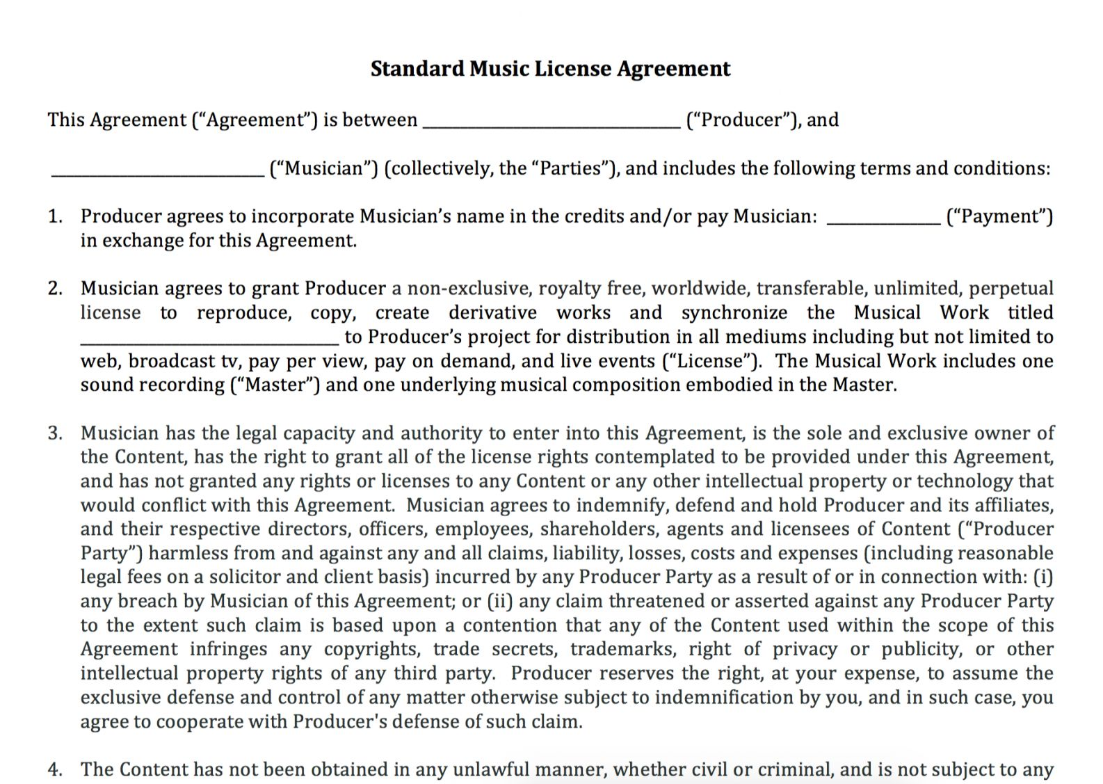 Get Our Example Of Content License Agreement Template For Free Contract Template Music Licensing Contract