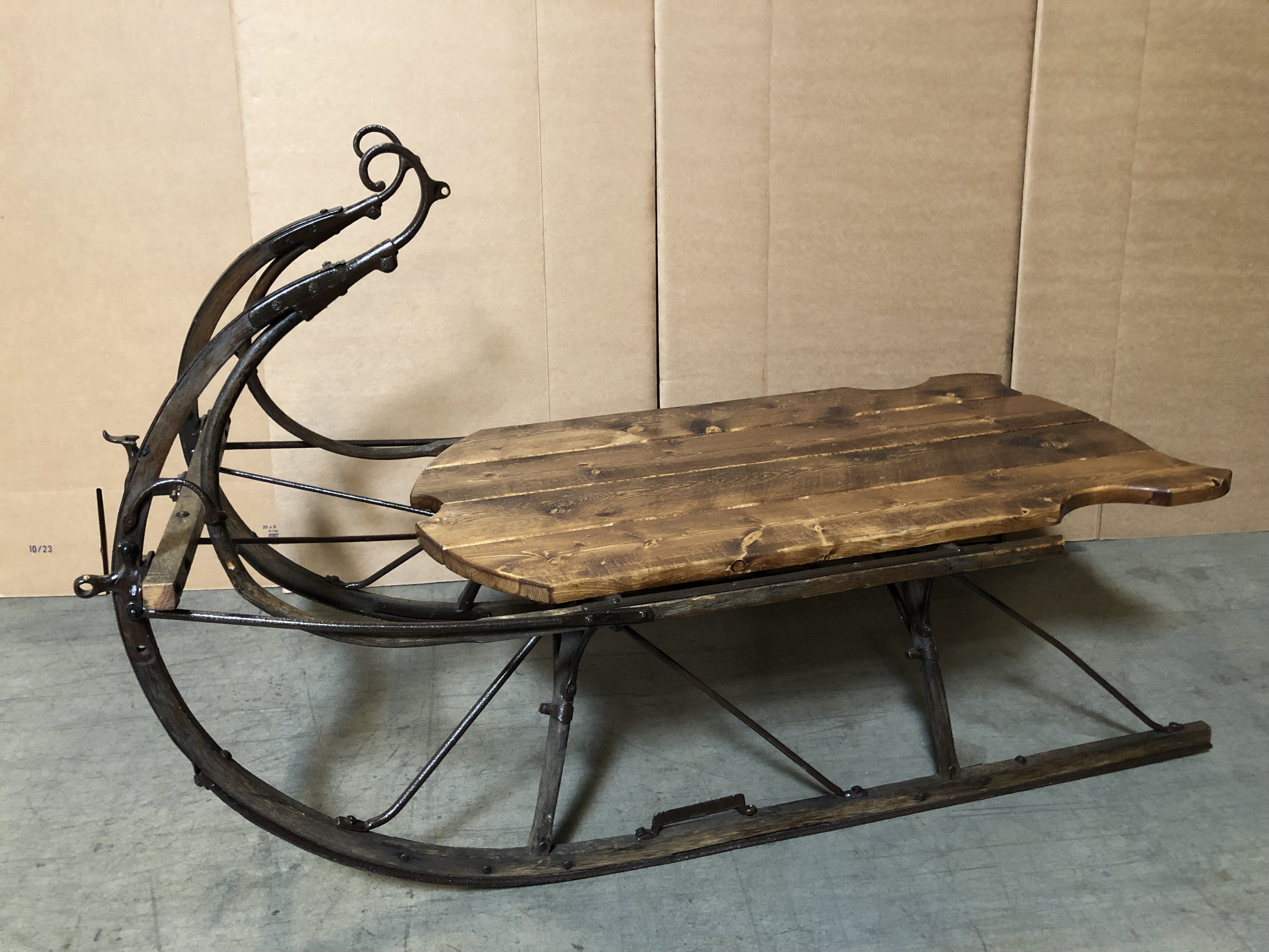 Antique Horse Drawn Sleigh Table With