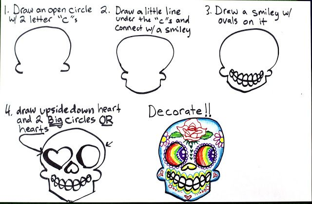 Smart Class Super Simple Step By Step Sugar Skulls Drawing