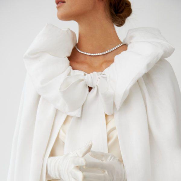 """""""Whitewing"""" Linen Cape #fantasticweddingbouquets"""