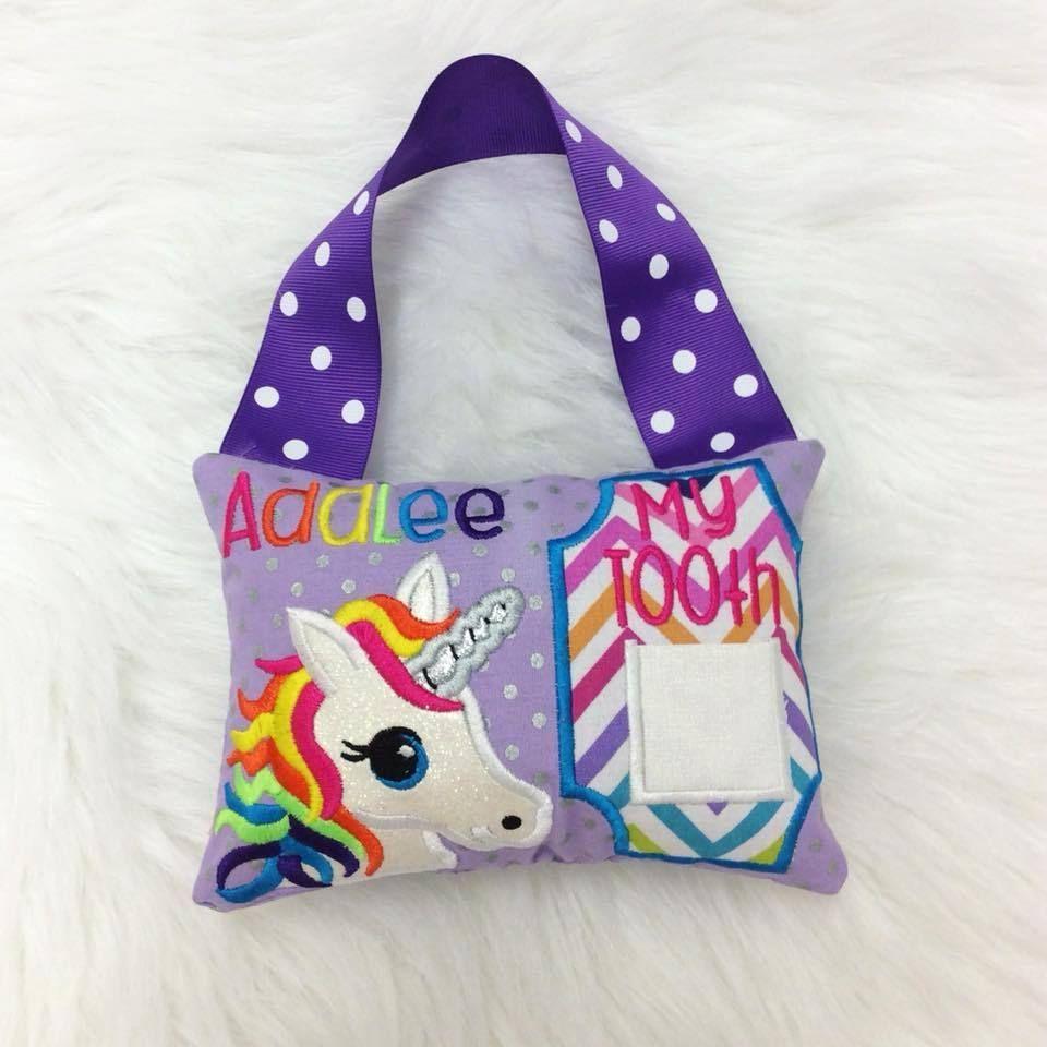 Personalized tooth fairy pillow rainbow unicorn unicornpillow