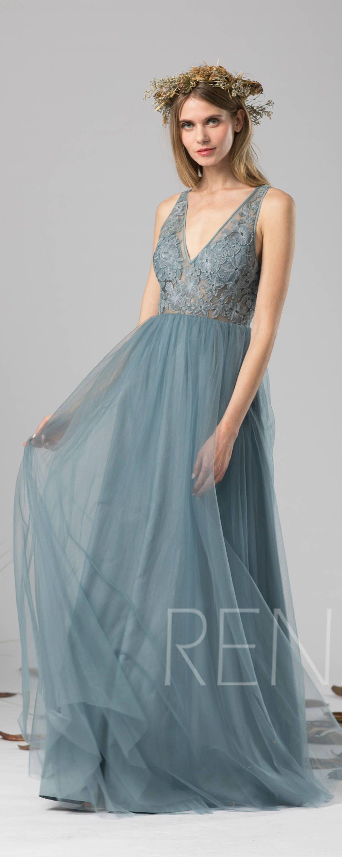 b5144b9aef1 Bridesmaid Dress Dusty Blue Tulle Dress Wedding Dress Illusion V ...