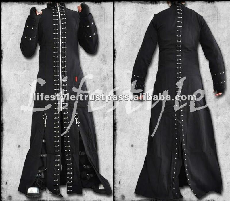 Gothic bondage trench coat can