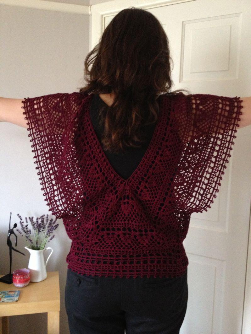 Japanese crochet v-neck top from back