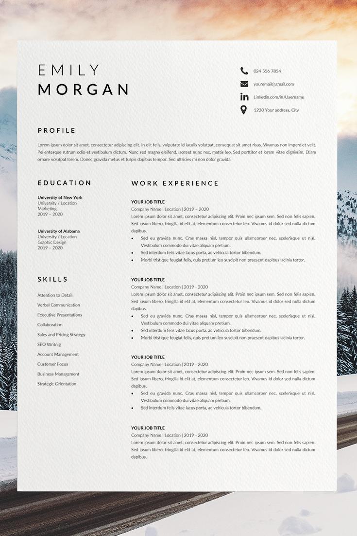 Professional Resume Design Cv Template Word Cv Resume Etsy In 2021 Cv Template Word Resume Design Professional Resume Template