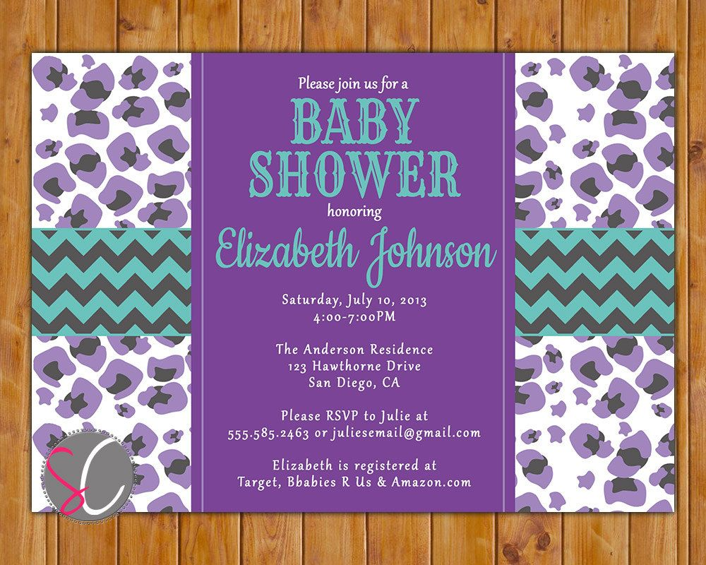 Purple Cheetah Print Baby Shower Invite Turquoise Grey Chevron ...