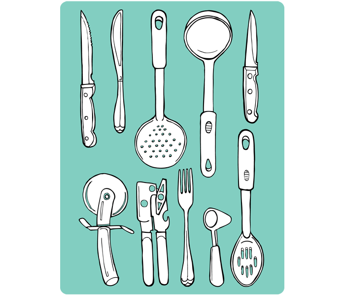 All My Things Drawn By Heather Diane Cooking Tools Illustration