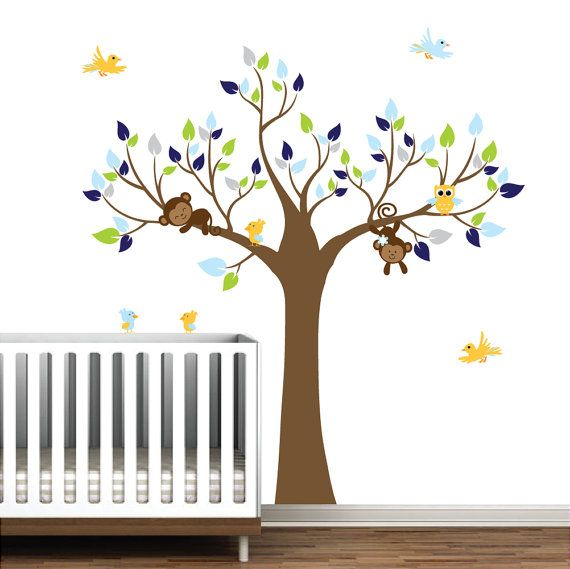 decals wall decal tree with owl birds-nursery wall vinyl stickers