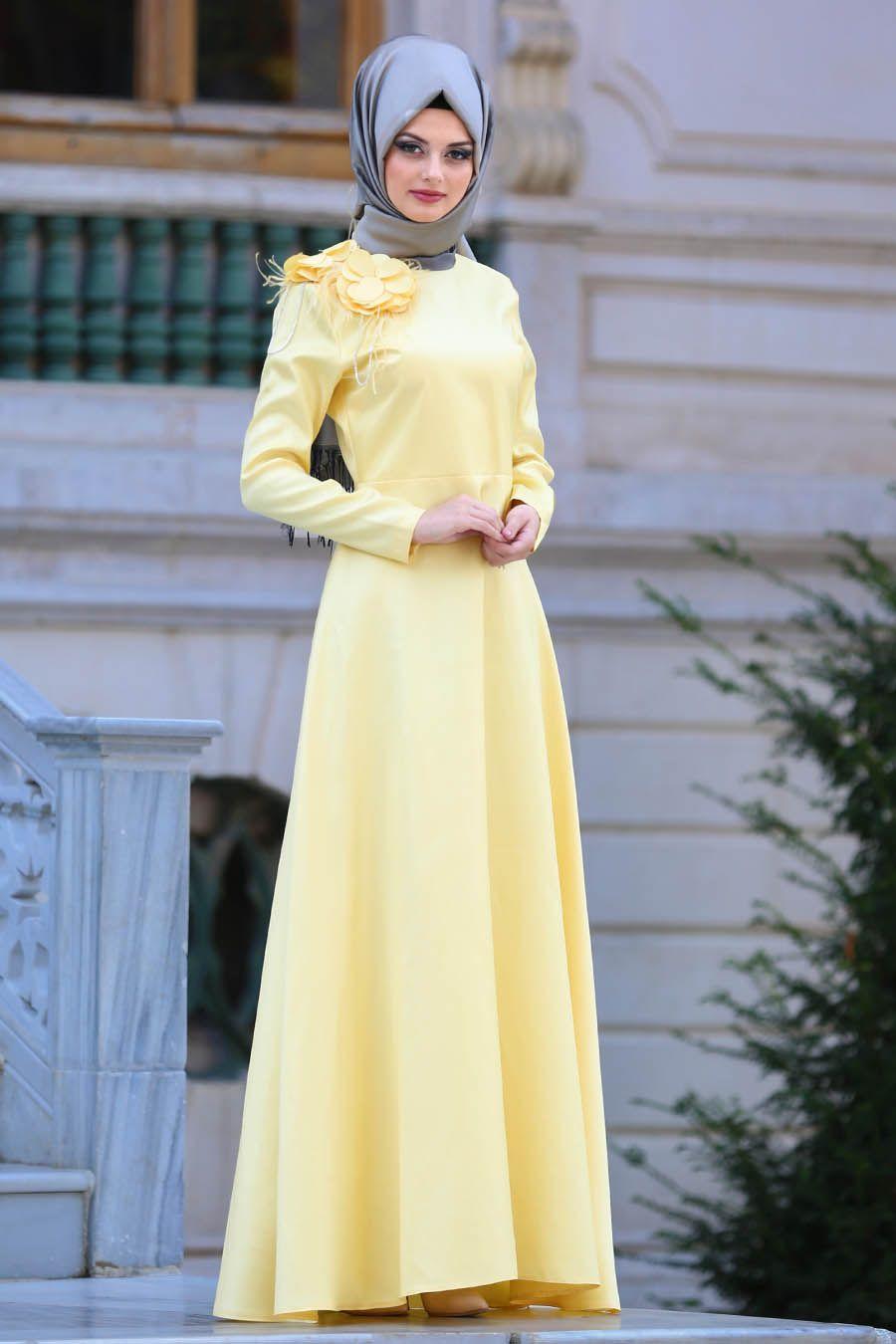 Neva Style Cicek Detayli Sari Tesettur Abiye Elbise 3557sr Tesetturisland Com Elbise Giyim Moda Stilleri