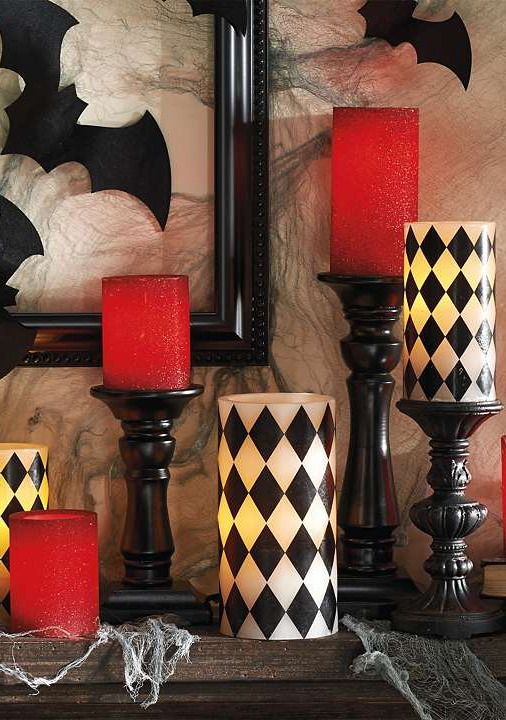 Featuring an eye-catching harlequin design and warm LED light the Harlequin Battery Operated Candles adds a flickering ambiance to your home this fall.