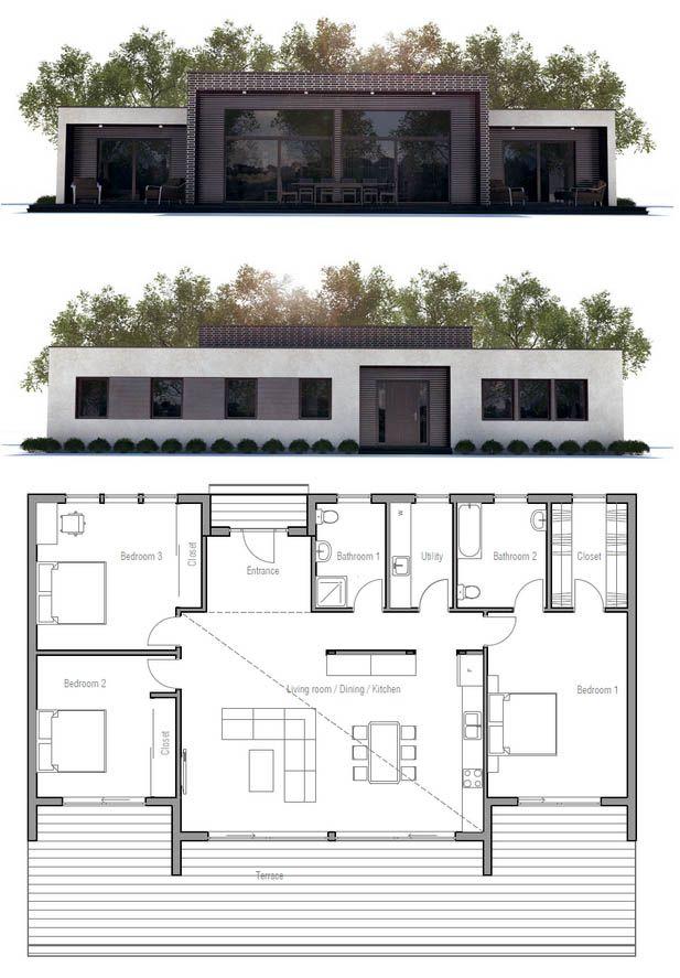 Planta de Casa Casas econômicas Pinterest House, Architecture