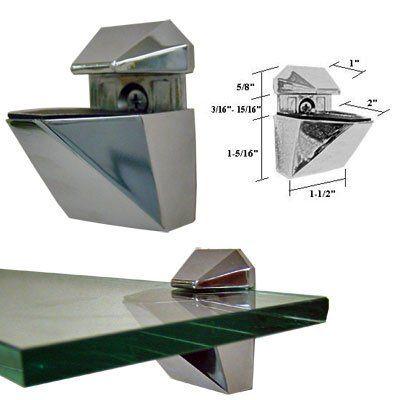 Brushed Nickel Adjustable Glass Or Wood Shelf Brackets Pair By Gordonglass 13 95 For Glass Shelves U Glass Shelf Brackets Wood Shelf Brackets Wood Shelves