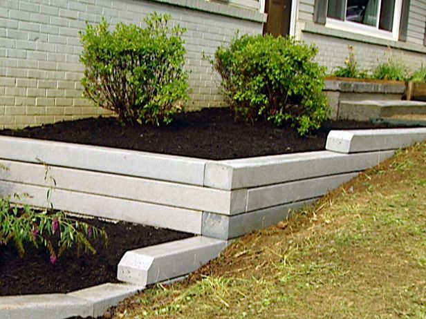 Concrete Beam Retaining Wall. I Like This Idea To Help Hide Exposed  Foundation, Not