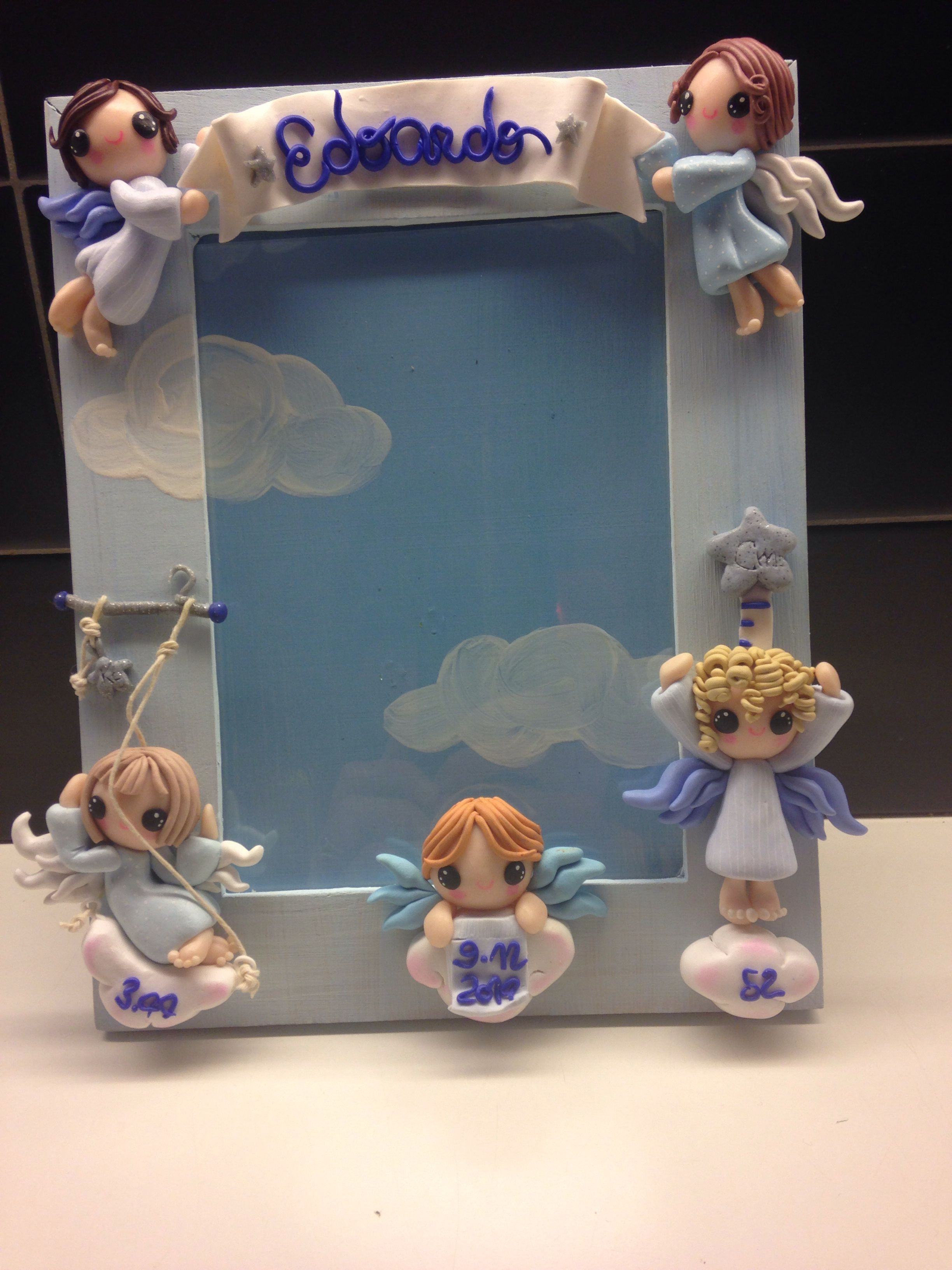 Angel Frame , with date of born, weight and lenght : hand painted and decorated with fimo.