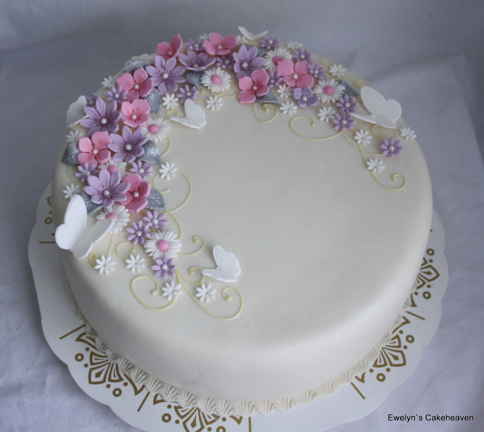 Brilliant Cake With Flowers And Butterflies Birthday Cake For Women Simple Personalised Birthday Cards Beptaeletsinfo