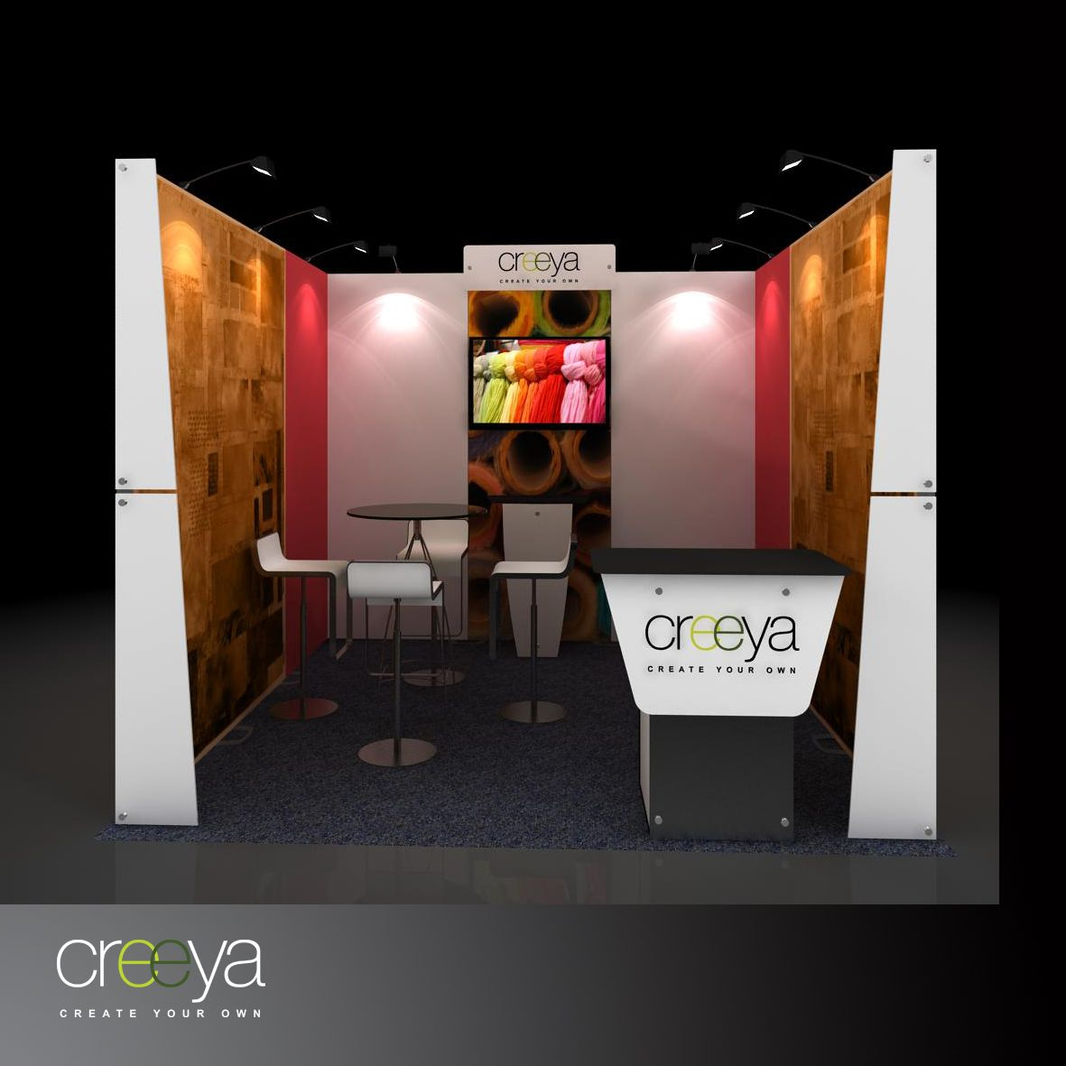 Exhibition Stand Hire Prices : Creeya modular display exhibit is termed as custom