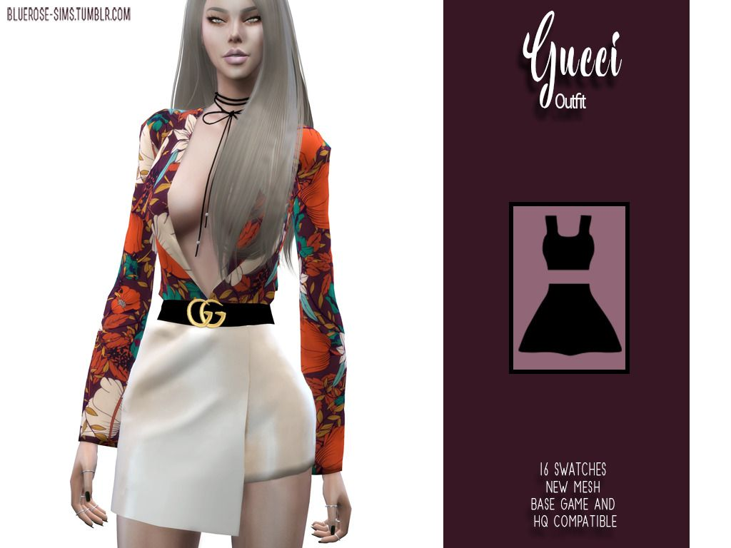50f5dd3c7c1 Gucci Outfit • New Mesh • 20 swatches (top) 22 swatches (skort) 16 swatches  (outfit) • Compatible with HQ and Base Game • All lods • All maps • Custom  ...