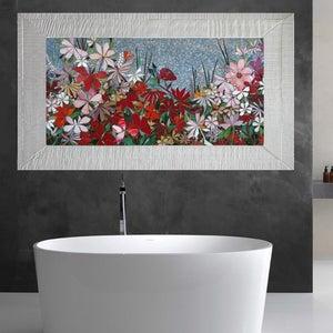 floral garden mosaic wall art made to order bathroom wall