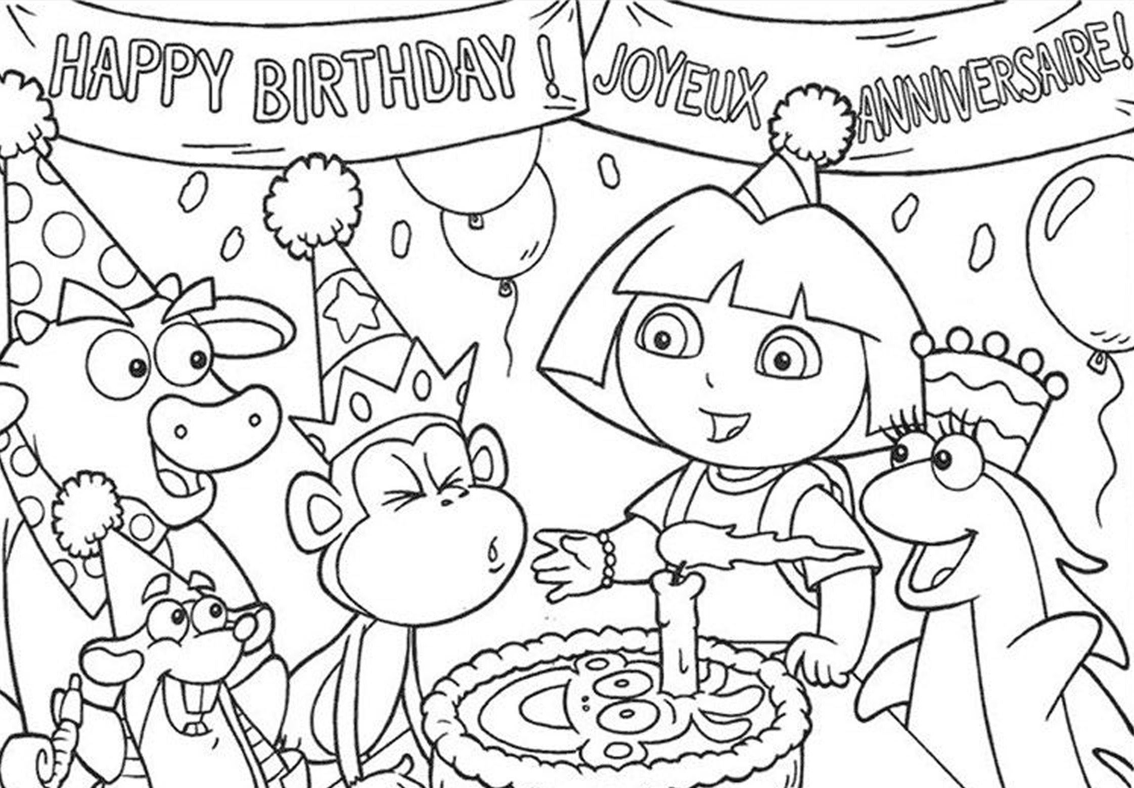 Dora - Birthday Colouring Page | For LILY et cie | Pinterest