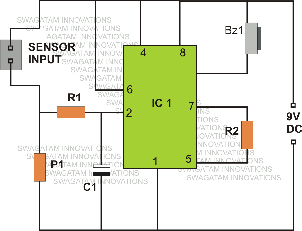 Rain Sensor Circuit Using IC 555 | Electronic project | Pinterest ...