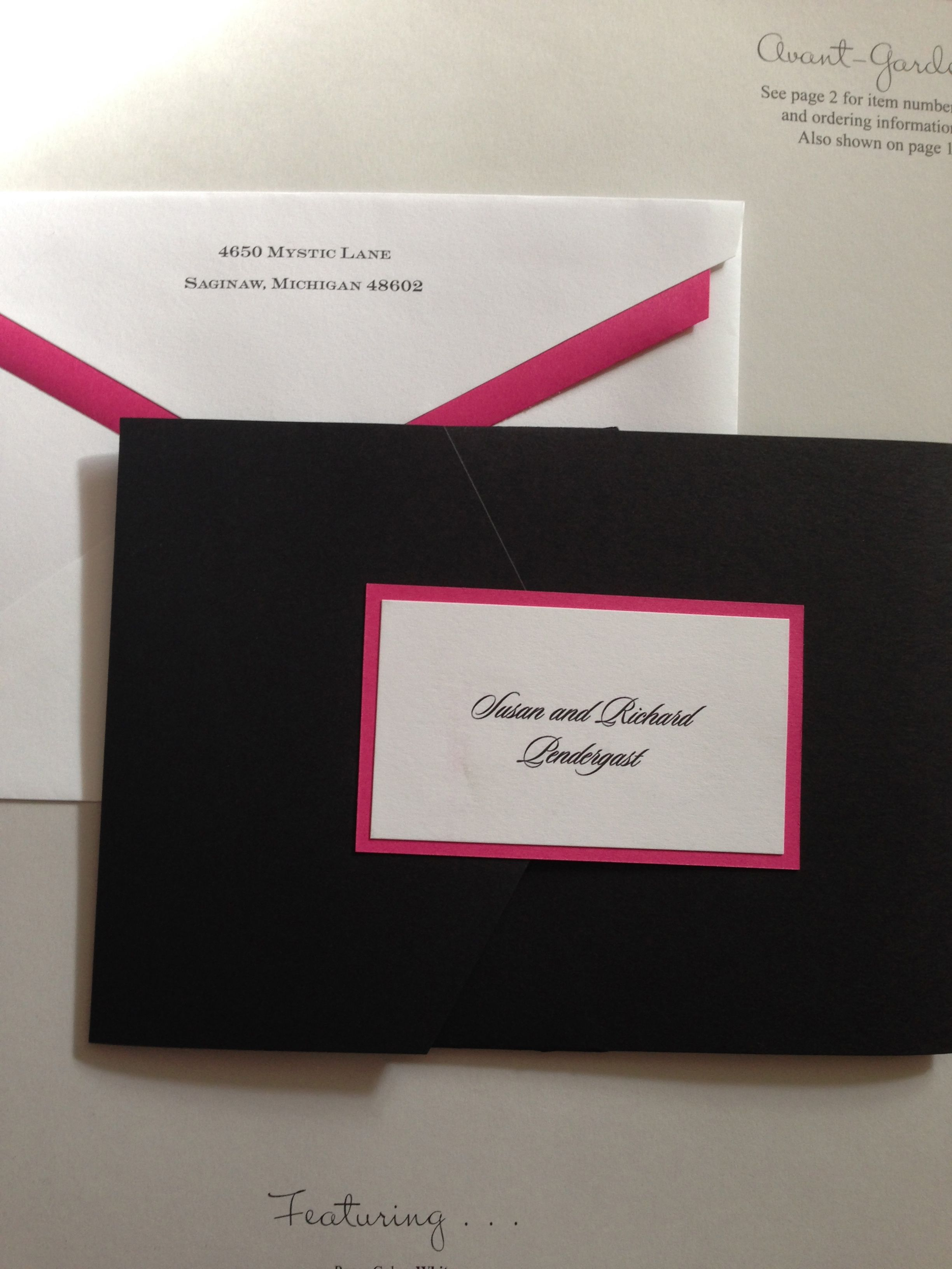 Avant-Garde pocket invitation from Carlson Craft. Shown is beautiful with the black pocket, fuchsia bottom layer and white top layer. Stunning!