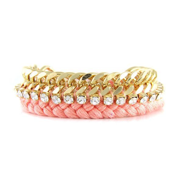 Gold Chain With Braided Peach Woven Strand And Strip of Rhinestones