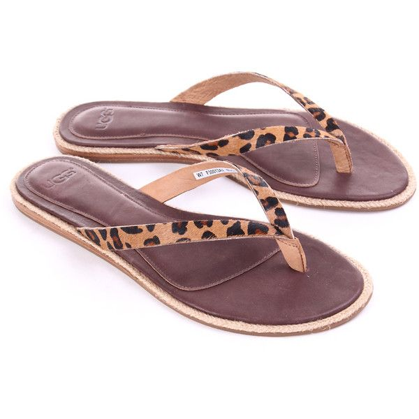 dc8a6a396 UGG AUSTRALIA Leopard Womens Allaria Flip Flop found on Polyvore featuring  polyvore