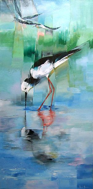 Sheila Brwon Nz Bird Acrylics On Canvas Ciguenuela Black Winged