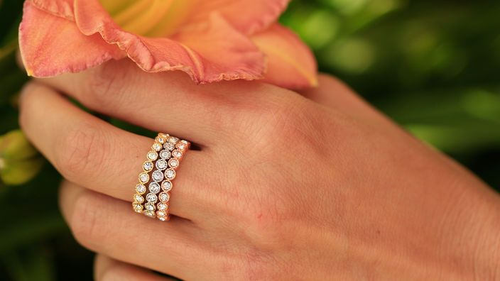 Stack it up: mixed metal statement rings