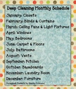 Deep Cleaning Schedule- need to come up with something like