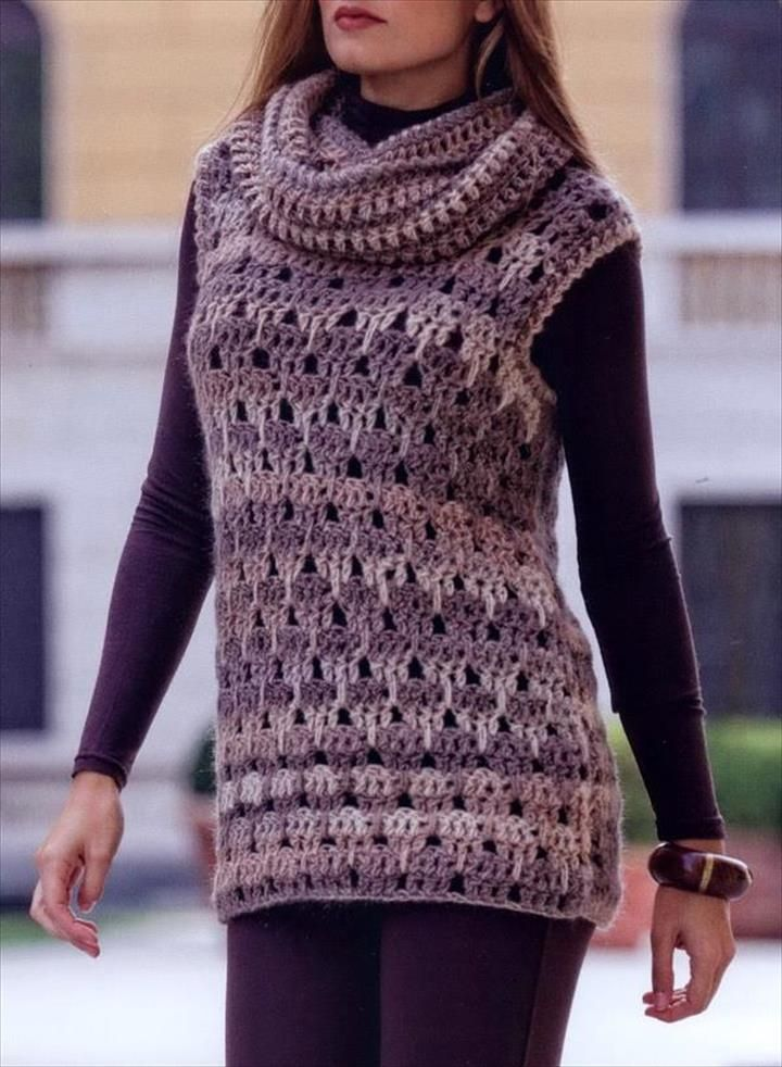 20 Stylish Crochet Sweater Vest Design Crocheting Crochet Tunic
