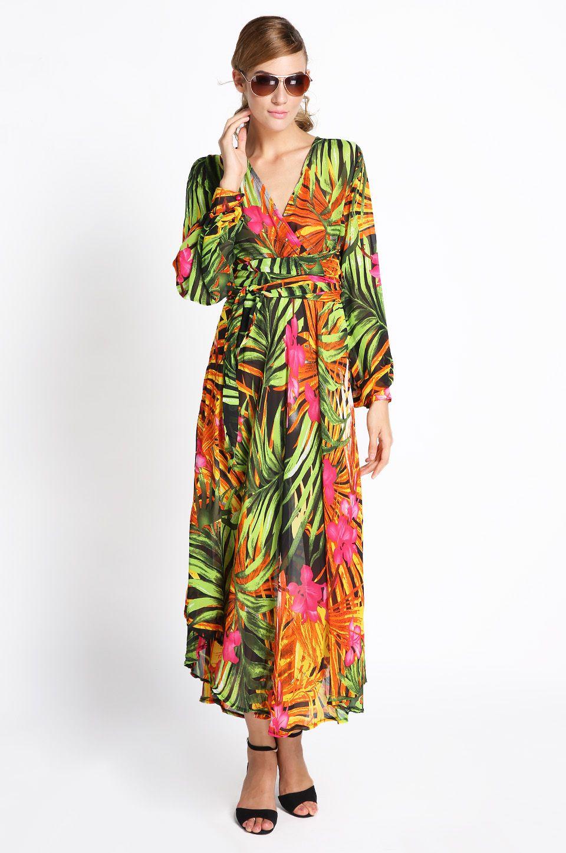 Womens vneck summer tropical flower print chiffon long sleeve