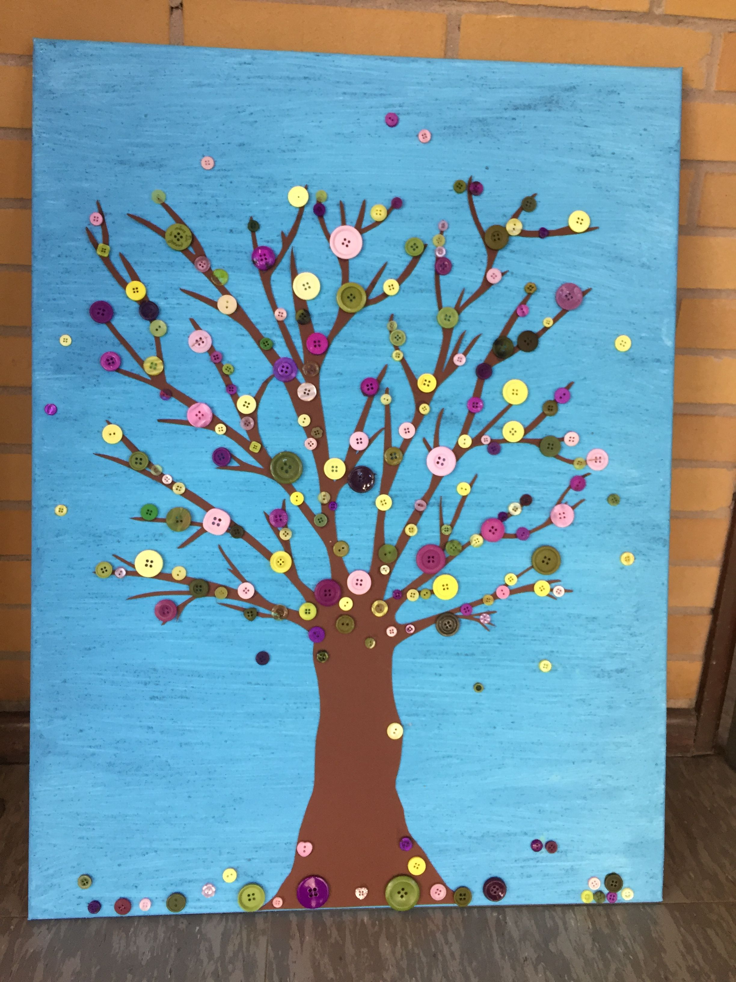Leinwand gestalten mit Kindern Knopf Baum | Selfmade | Pinterest ...