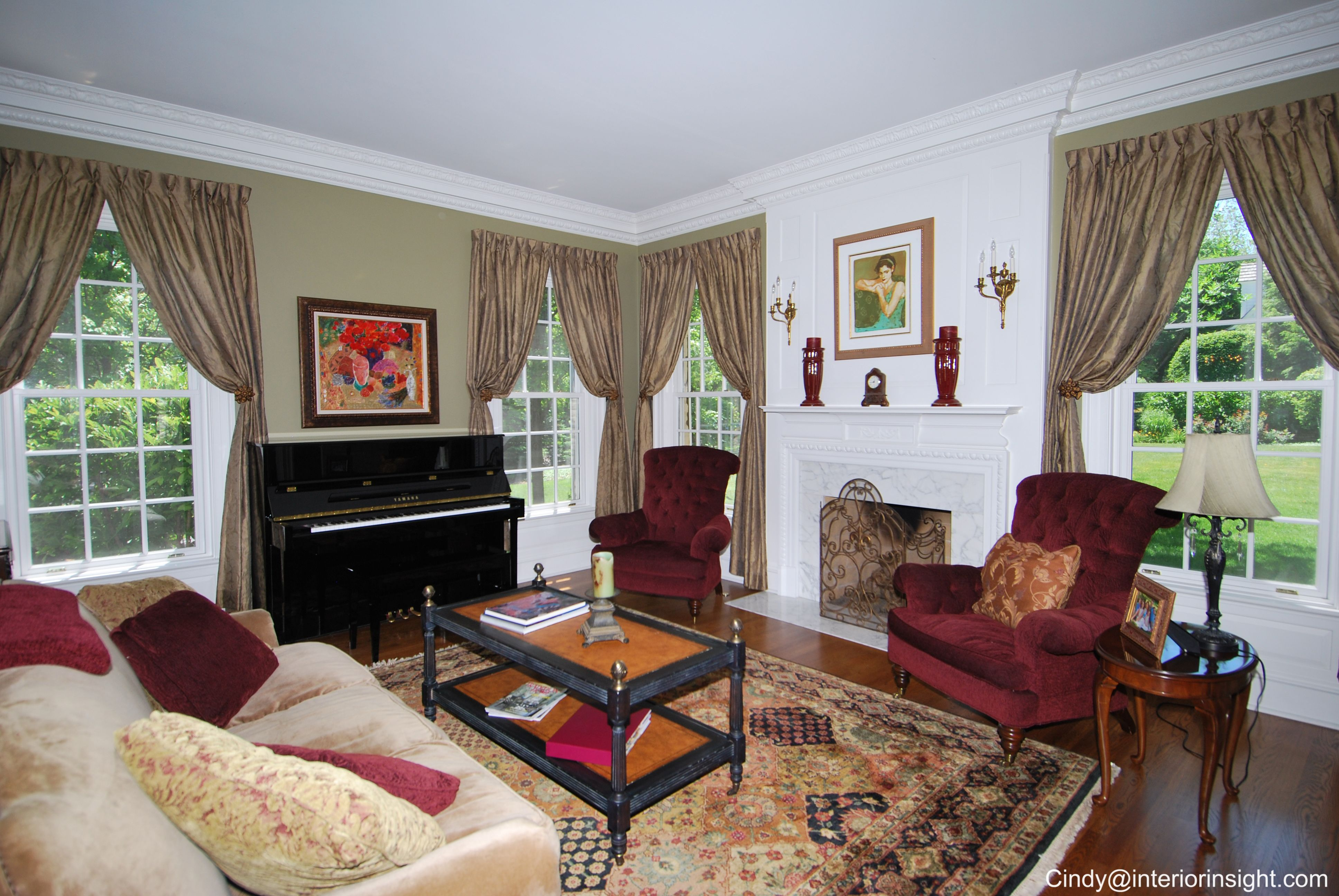 Lots of Color in this Living Room with Marble front ...