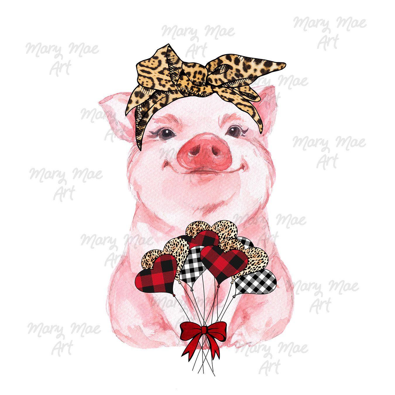 Valentine Heart Pig With Leopard Headband Sublimation Transfer Etsy Pig Illustration Sublime Pig