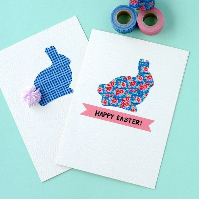 Card Making Ideas Using Washi Tape Part - 20: DIY Washi Tape Easter Bunny Cards Craft Your Own Easter Cards Using Washi  Tape And Some Clever Techniques. Step By Step Photo Tutorial And Free  Printable ...