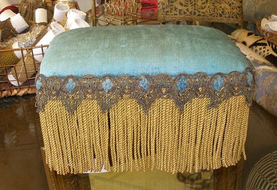 Vintage Foot Stool Silk Velvet With Gold Metallic Trim And