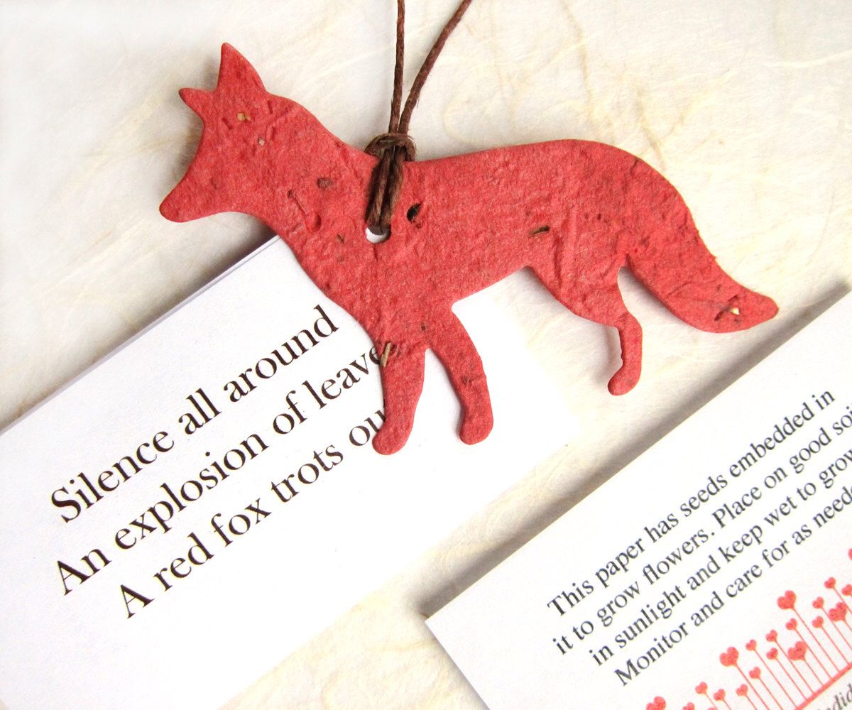 20 Plantable Seed Paper Foxes - Flower Seed Favors - Woodland ...