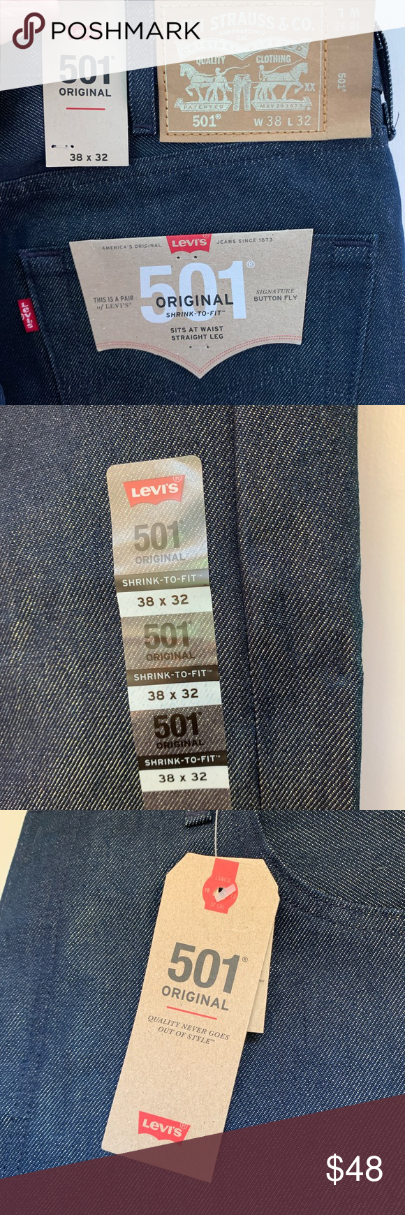 Levis 501 Shrink-To-Fit Button-Fly 38x32 Indigo | Levis ...